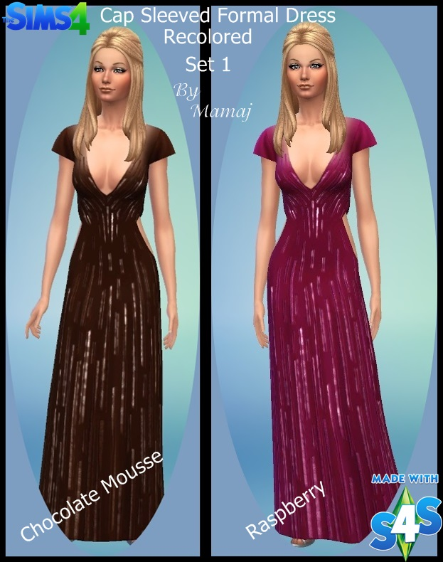 Cap Sleeved Formal Dress - Recolored Set 1 & 2 Recolo12