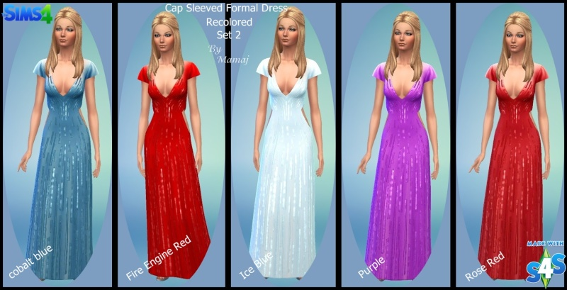 Cap Sleeved Formal Dress - Recolored Set 1 & 2 Set_2_10