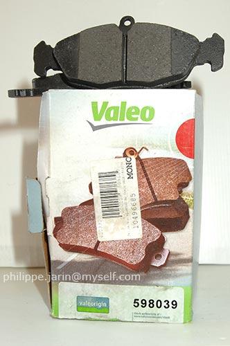 [VDS] Jeu de 4 plaquettes de frein VALEO 598039 toute neuves 15€ Valeo010