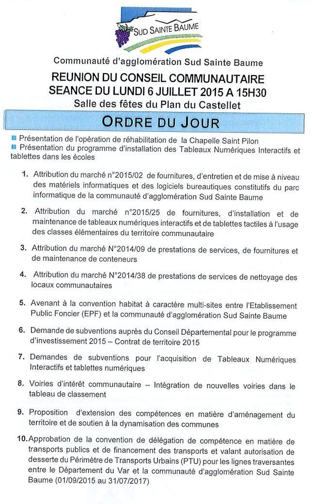 Prochain conseil d'Agglomération Sud Saint Baume au PLAN du CASTELLET  le Lundi 6 Juillet de 2015 15h30 Consei11