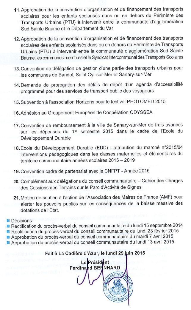 Prochain conseil d'Agglomération Sud Saint Baume au PLAN du CASTELLET  le Lundi 6 Juillet de 2015 15h30 Consei12