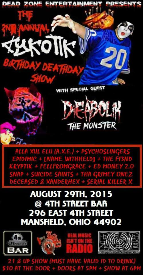 Show with Dieabolik, & Cykotik in Ohio 11059610