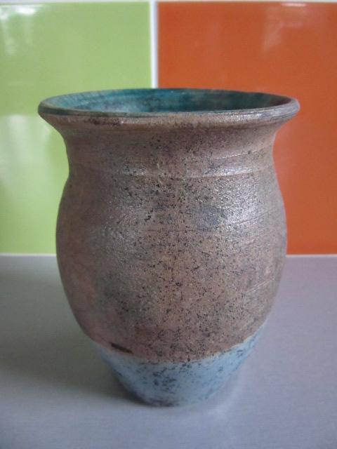 Raku vase marked 'F'  copper interior Img_3922