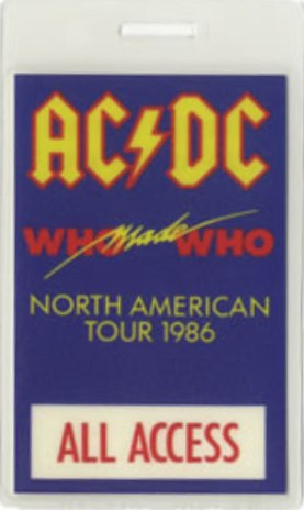 """1986 - Who made who """"North American Tour"""" 133"""