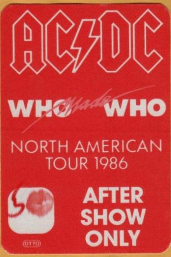 """1986 - Who made who """"North American Tour"""" 333"""