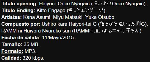 Haiyore! Nyaruko-san F. Opening & Ending - Haiyore Once Nyagain / Kitto Engage Info12