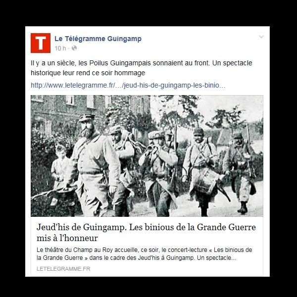 Jeud'his de Guingamp. Les binious de la Grande Guerre mis à l'honneur  230