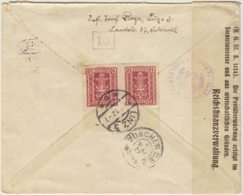 Devisenkontrolle im Deutschen Reich nach Ende des 1. Weltkrieges Linz_211