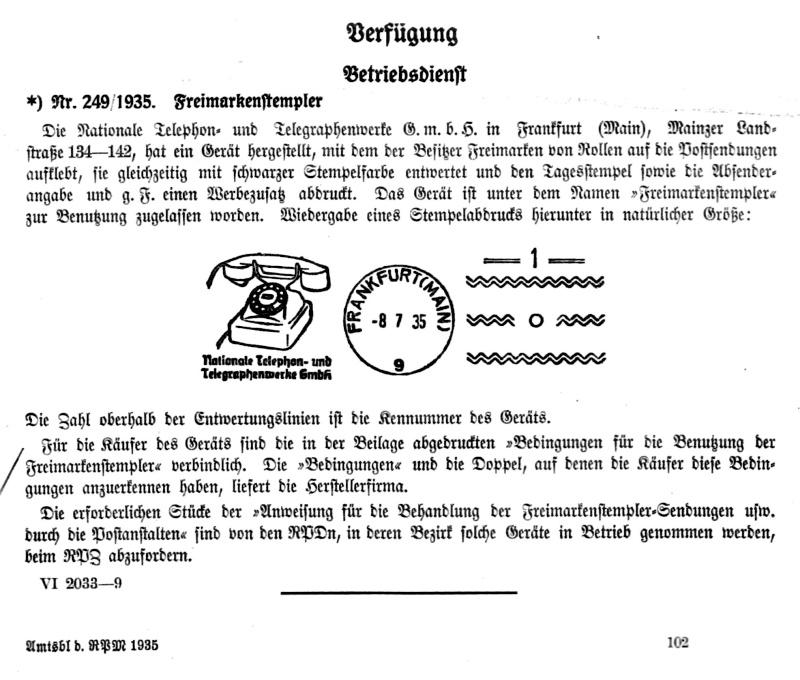 Freimarkenstempler Vfg10