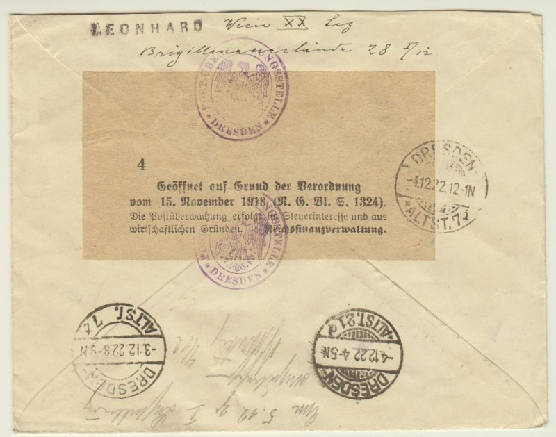 nach - Devisenkontrolle im Deutschen Reich nach Ende des 1. Weltkrieges Wien_218