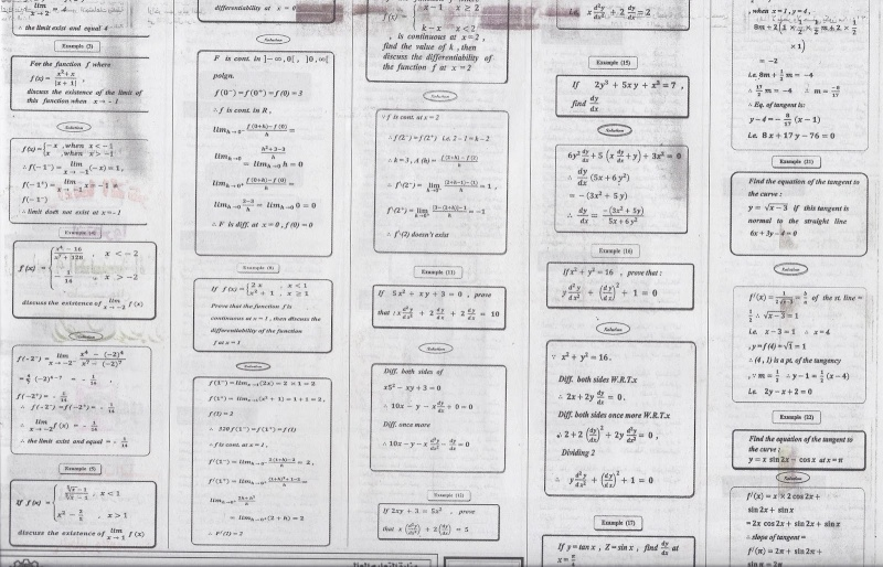مراجعة ليلة الامتحان فى التفاضل والتكامل للغات للثانوية العامة  610