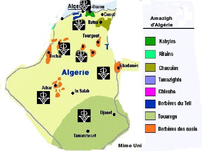 Carte  Amazigh Berbere d'Algerie Gharda10