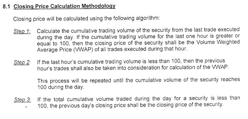 Closing Price Calculation Closin10