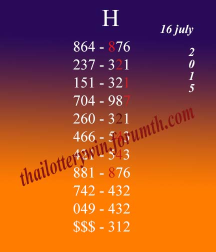 Tips For 16 july 2015 Thai12