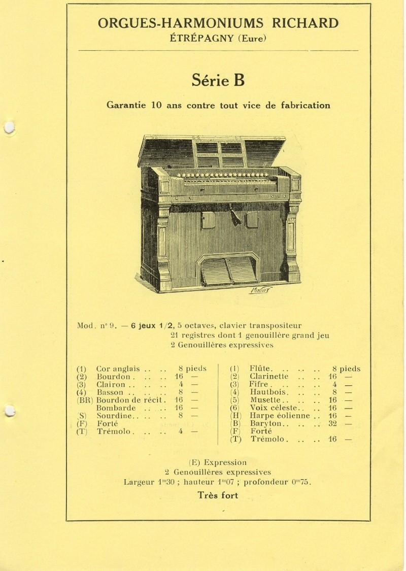 Harmonium J. Richard et C.ie - Etrepagny, Mod. n° 9 - 6 jeux 1/2 Numari11