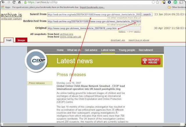 Steve Marsden's WBM screenshot: The CEOP Home page for April 30, 2007 also refers to Missing Madeleine. Ceop_p10