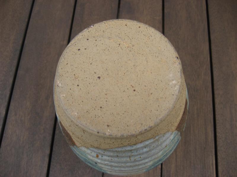 Stoneware ribbed vase, fluted rim, unusual angle dipped glaze, no marks Img_0331