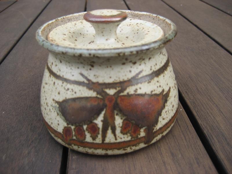 Stoneware lidded pot, speckled with darker pattern. B mark impressed. Img_0332