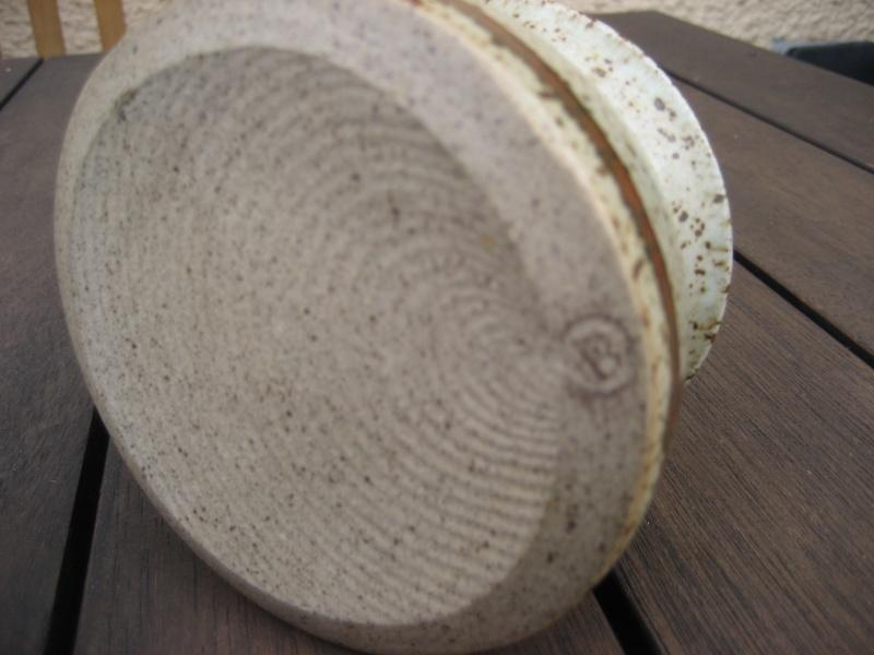 Stoneware lidded pot, speckled with darker pattern. B mark impressed. Img_0333