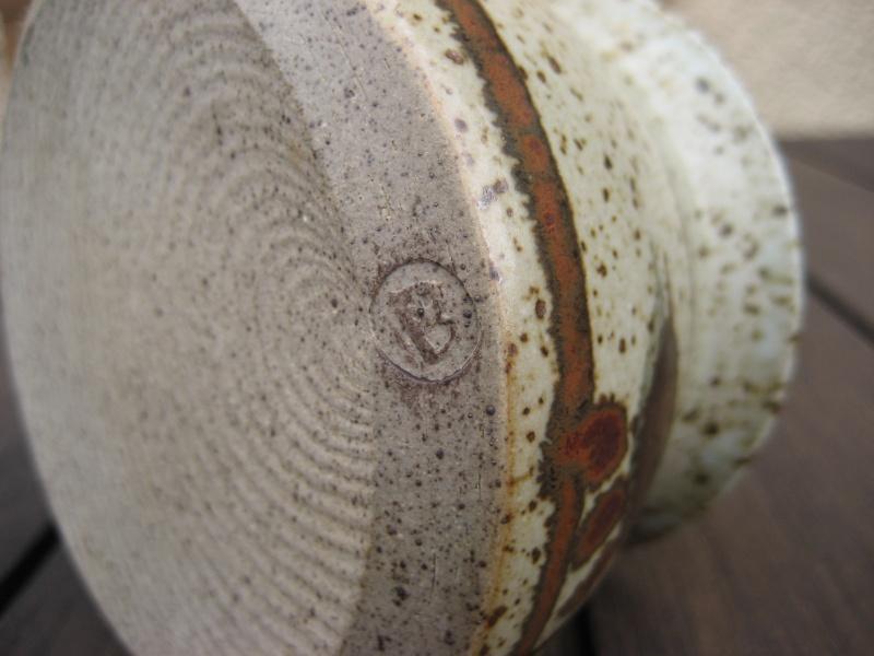 Stoneware lidded pot, speckled with darker pattern. B mark impressed. Img_0334