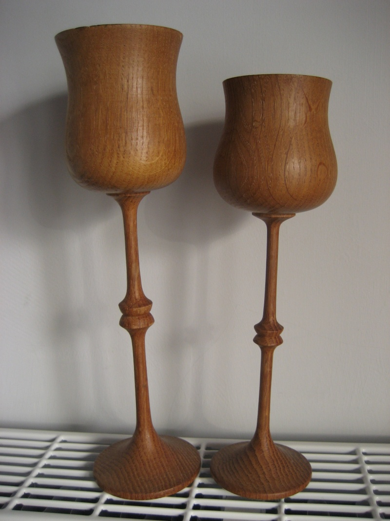 Two tall wood turned oak? fluted goblets/ chalices  Img_0411