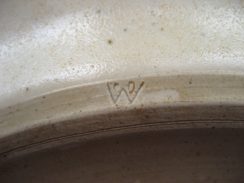 Stoneware dinner plate geometric hand painted design. W on the back. Img_0725