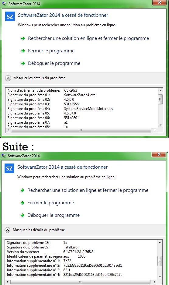 """Bug """"SoftwareZator 2014 a cessé de fonctionner"""" Soft10"""
