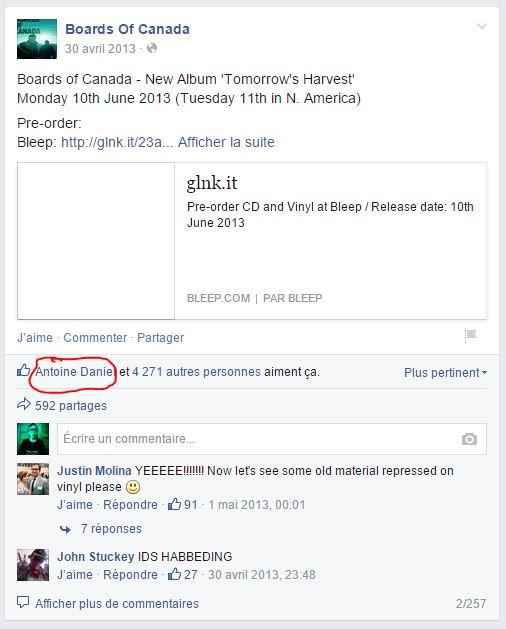 Le mystère des Internets est il inspiré de l'énigme de Boards Of Canada ? Facebo11