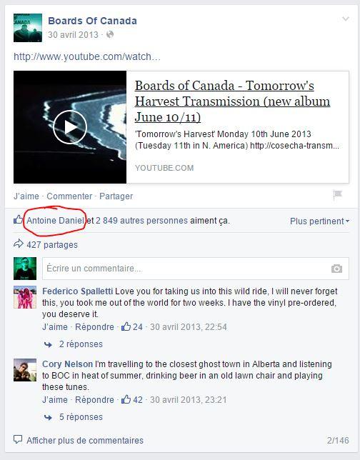 Le mystère des Internets est il inspiré de l'énigme de Boards Of Canada ? Facebo12