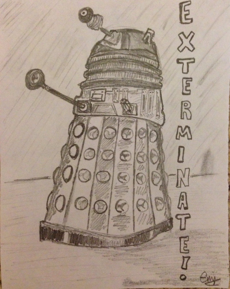 Dalek Drawing & Dr. 11 Portrait Img_3617