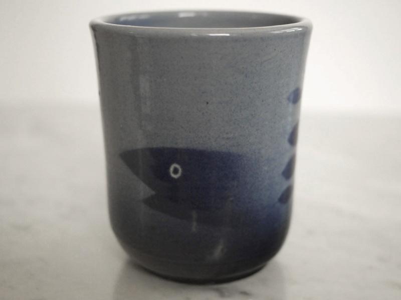 Finnish Studio pottery mug with fish graphics. ARABIA? Arabia10