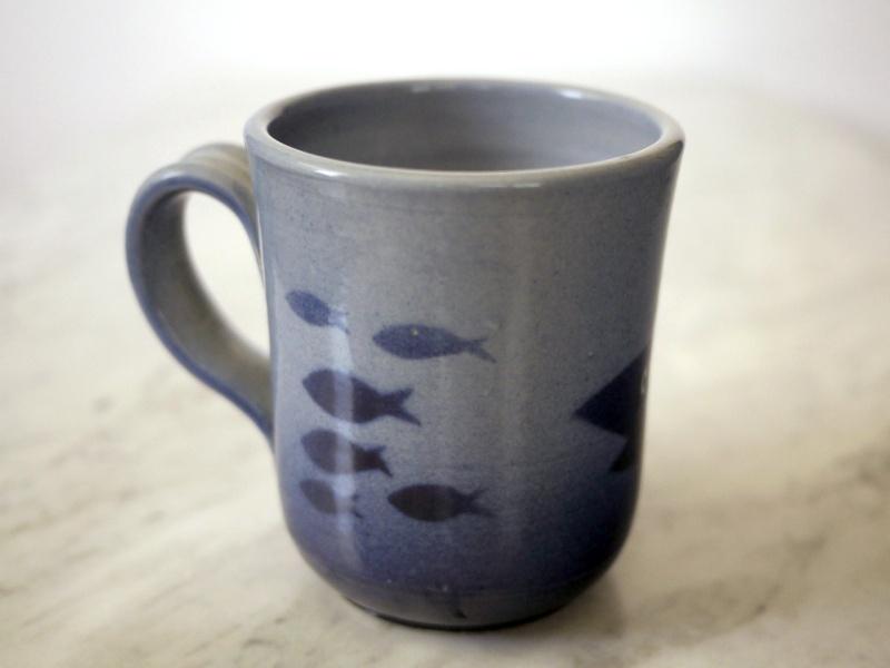 Finnish Studio pottery mug with fish graphics. ARABIA? Arabia11