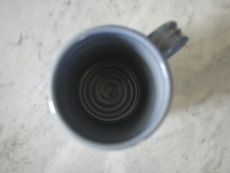 Finnish Studio pottery mug with fish graphics. ARABIA? Arabia13