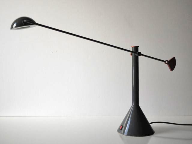 Gray and orange modern/postmodern swingarm lamp. Grey_m10