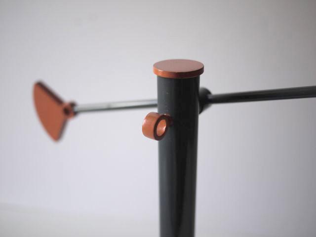 Gray and orange modern/postmodern swingarm lamp. Grey_m11