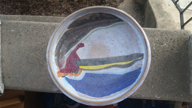 unknown footed dish w/abstract design 20150722