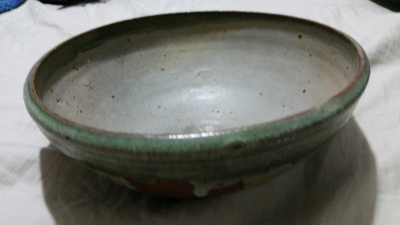 red clay pottery bowl, signed id help  20150726