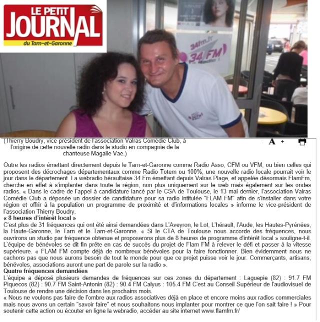 Radio FLAM FM Tarn et Garonne Article Le Petit Journal (Tarn et Garonne) Artcil11