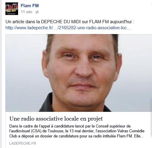 Radio FLAM FM sur la DEPECHE DU MIDI à Gourdon (46) Articl11