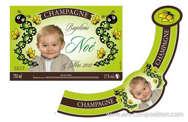 etiquette a champagne  Baptem10