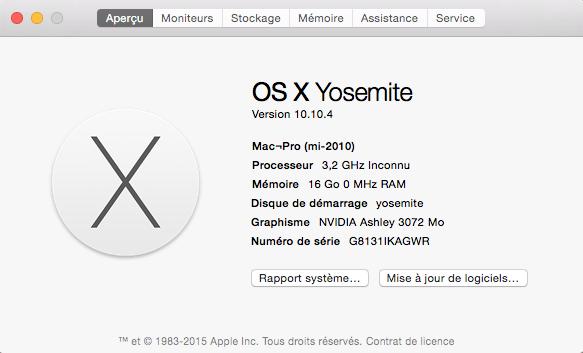 """Installation ok Yosemite dual boot mais petit soucis pour Cpu et infos""""A propos de ce mac"""" Captur10"""
