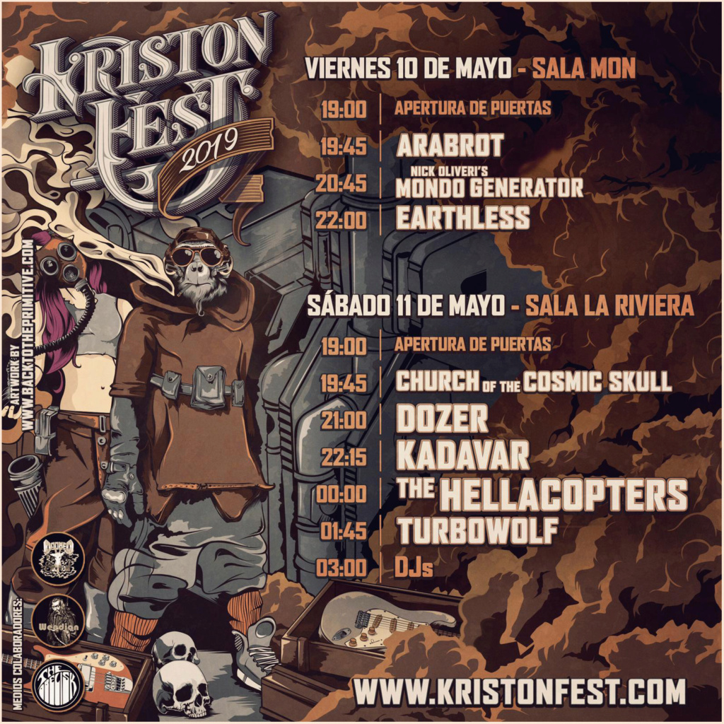 KRISTONFEST (10+11 Mayo, 2019) The Hellacopters, Earthless, Kadavar, Dozer, Nick Oliveri's Mondo Generator, Turbowolf, Church Of The Cosmic Skull y Arabrot - Página 2 Horari13