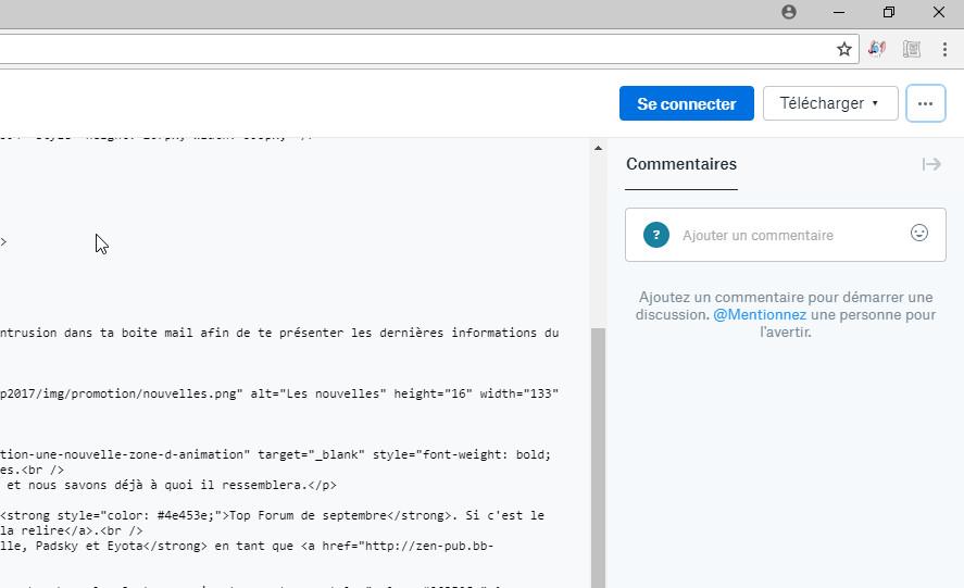 Héberger une page HTML Dropbo10