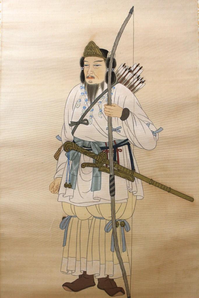 """L'art populaire """"Ôtsu-e"""" dans la représentation de l'emp. Taisho sur kakemono Jimmu_11"""
