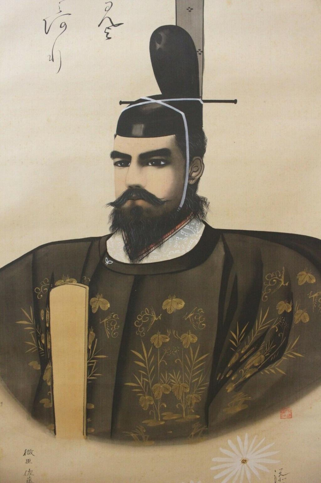 """L'art populaire """"Ôtsu-e"""" dans la représentation de l'emp. Taisho sur kakemono Meiji_11"""