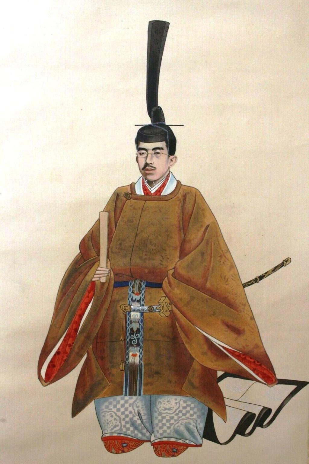 """L'art populaire """"Ôtsu-e"""" dans la représentation de l'emp. Taisho sur kakemono Showa_12"""