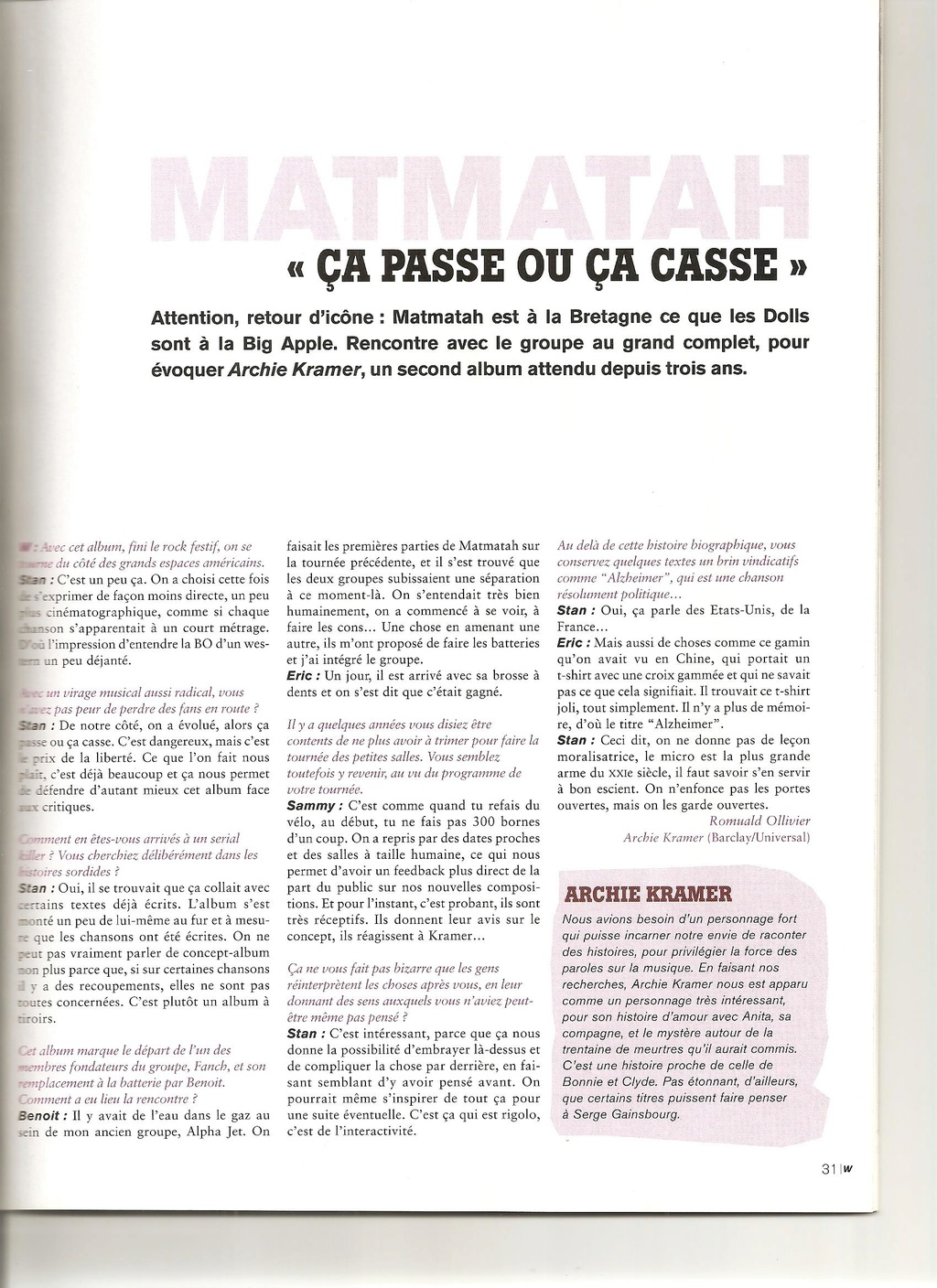 Archives - anciens articles... Wanted10