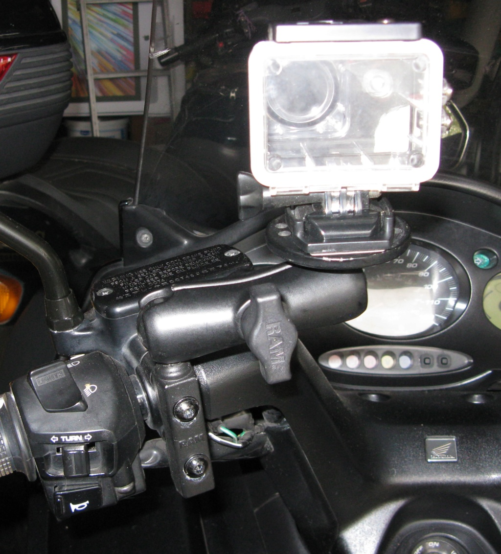 New HD camera fitted to handlebar mount. Img_2310