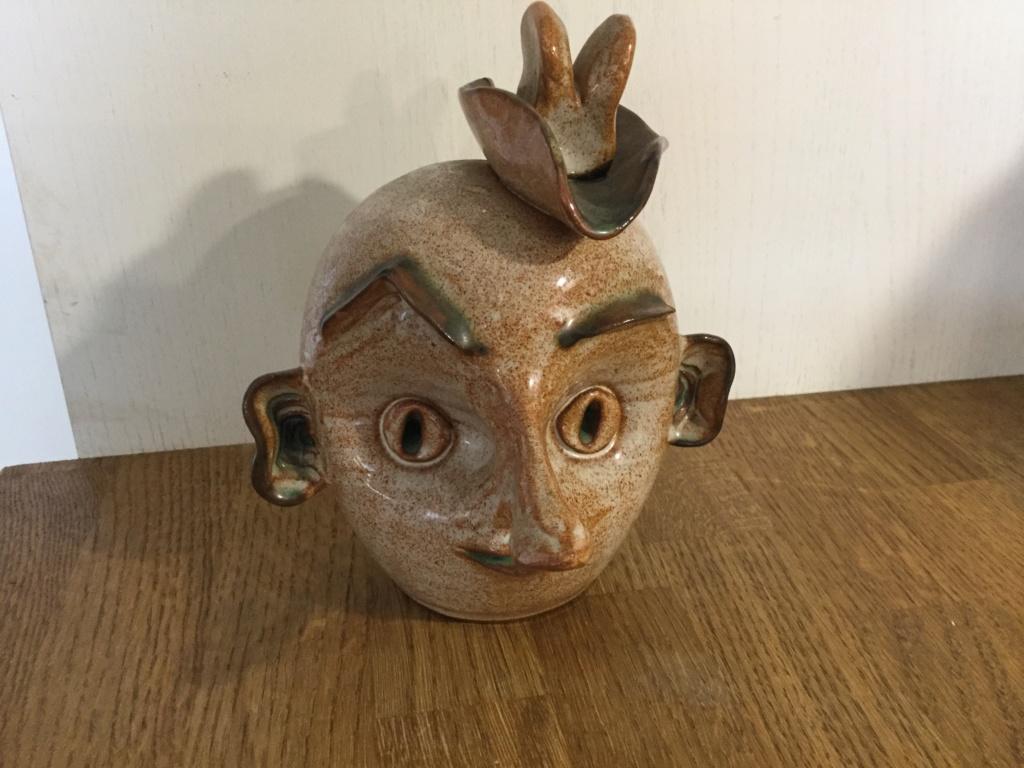 Strange pottery head signed MARC - Prima Pottery, Marcus Golberger 1f90af10