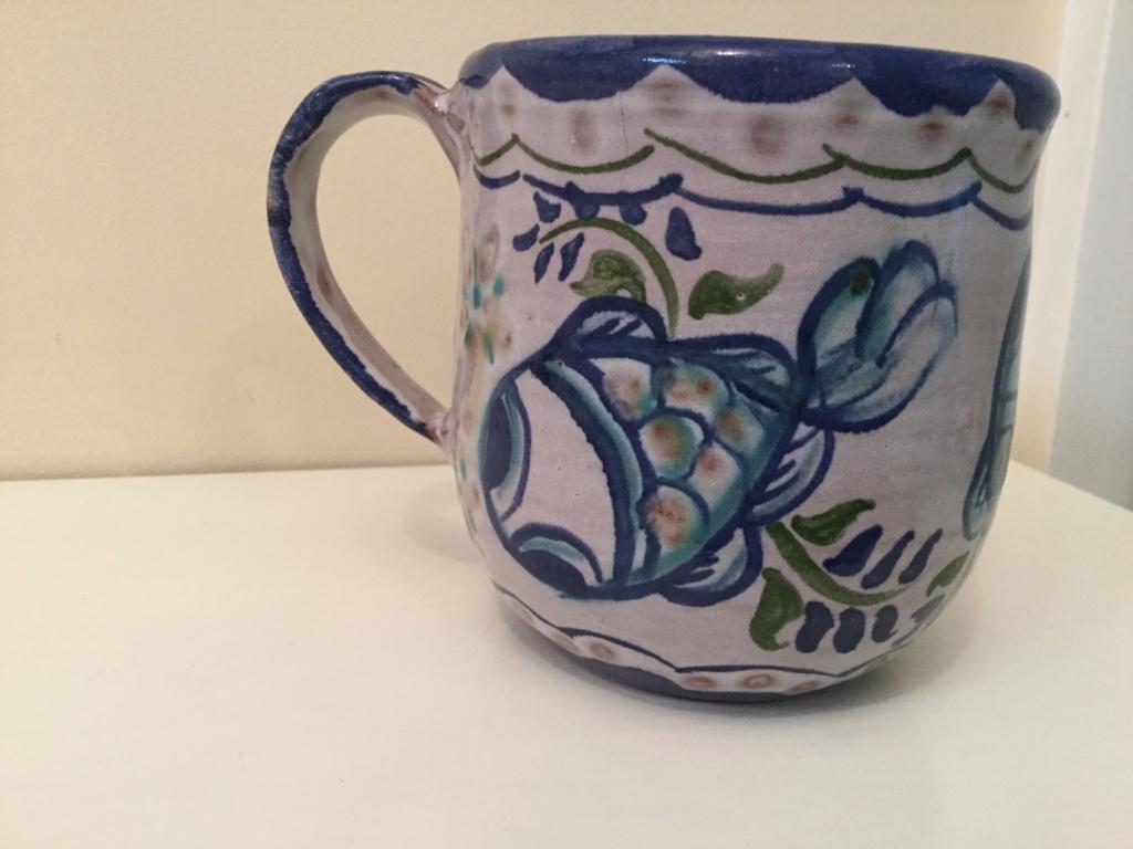 Hand painted fish mug WHLS mark - Portugal?  94cd9210